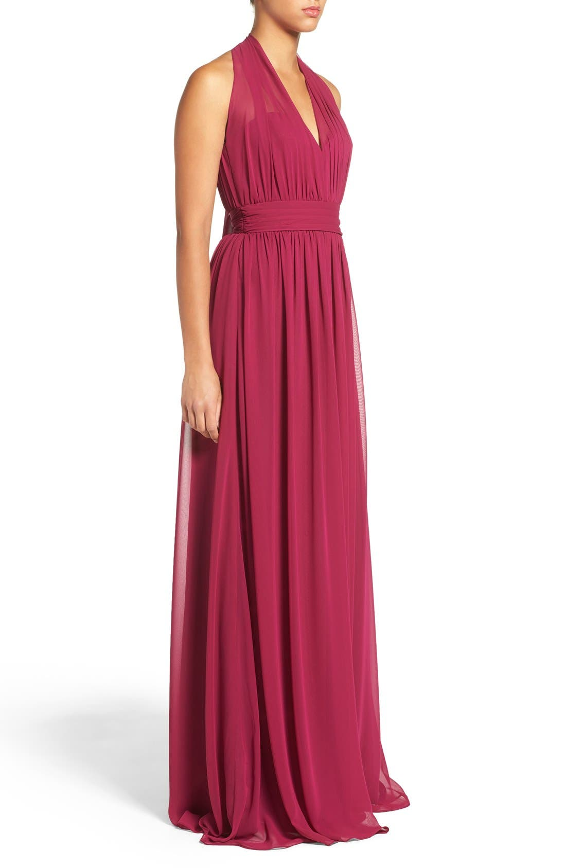 Alternate Image 3  - Hayley Paige Occasions Ruched Waist Chiffon Halter Gown
