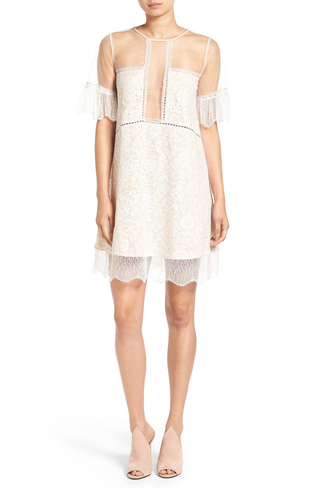 Main Image - KENDALL + KYLIE Lace Panel Trapeze Dress