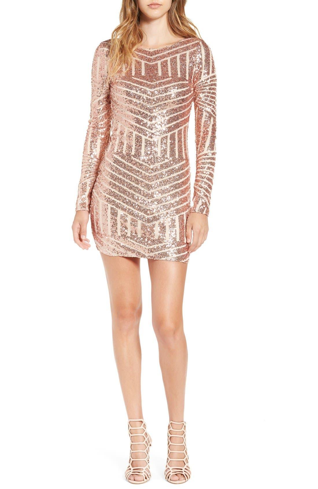 Main Image - Bee Darlin Long Sleeve Sequin Body-Con Dress