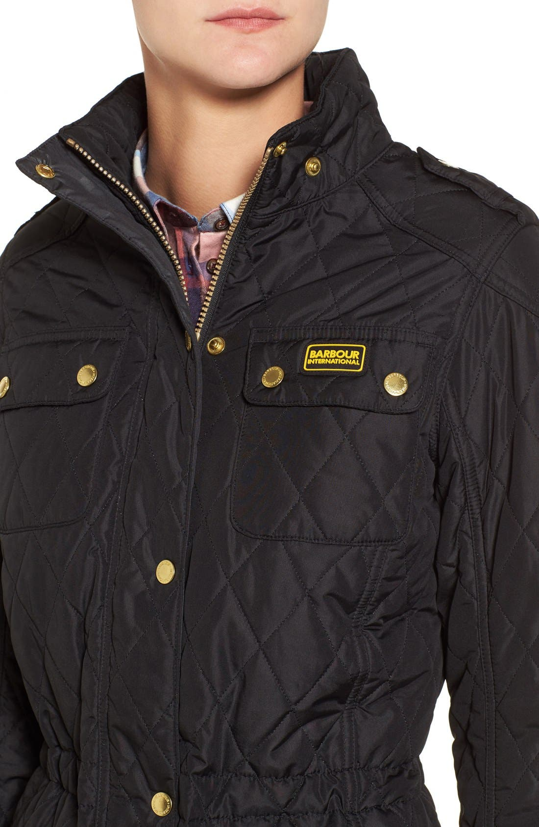 Alternate Image 4  - Barbour International Enduro Quilted Jacket with Faux Fur Trim Hood
