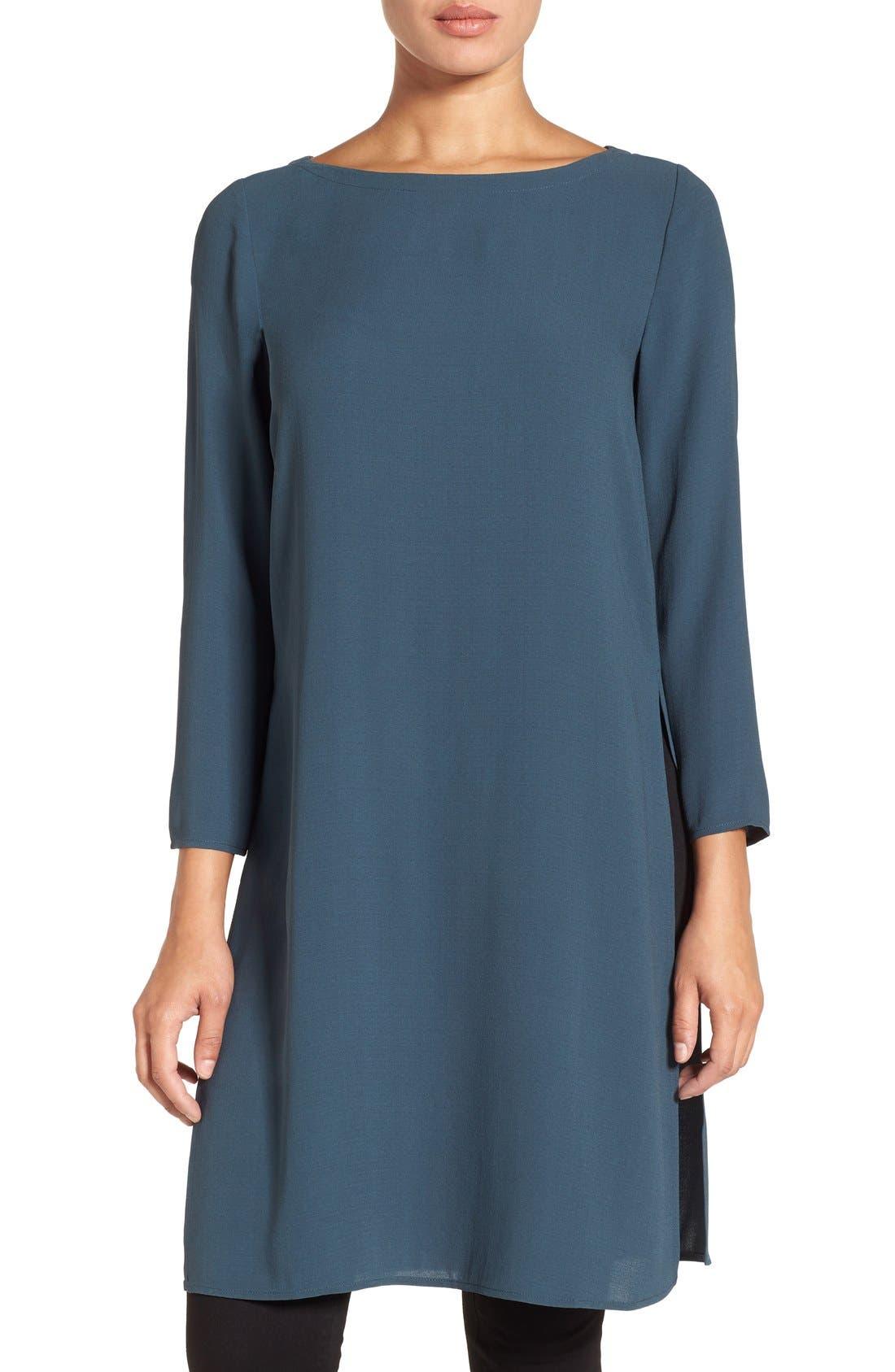Alternate Image 1 Selected - Eileen Fisher Bateau Neck Silk Crepe Tunic (Regular & Petite)