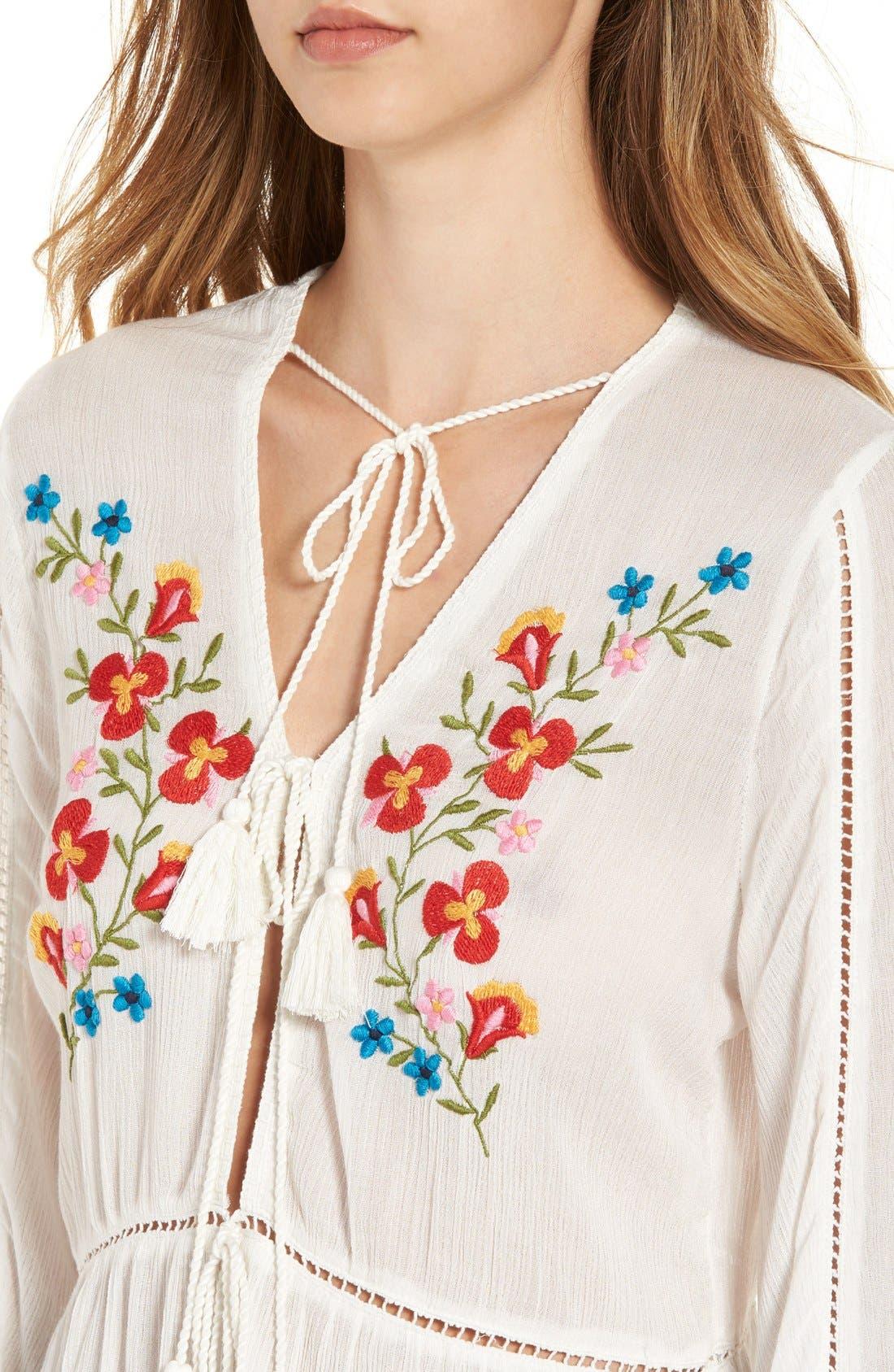 Alternate Image 5  - Glamorous Embroidered Long Sleeve Tunic