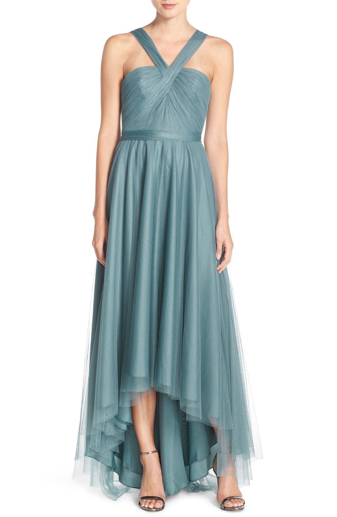 MONIQUE LHUILLIER BRIDESMAIDS V-Neck Tulle High/Low Gown
