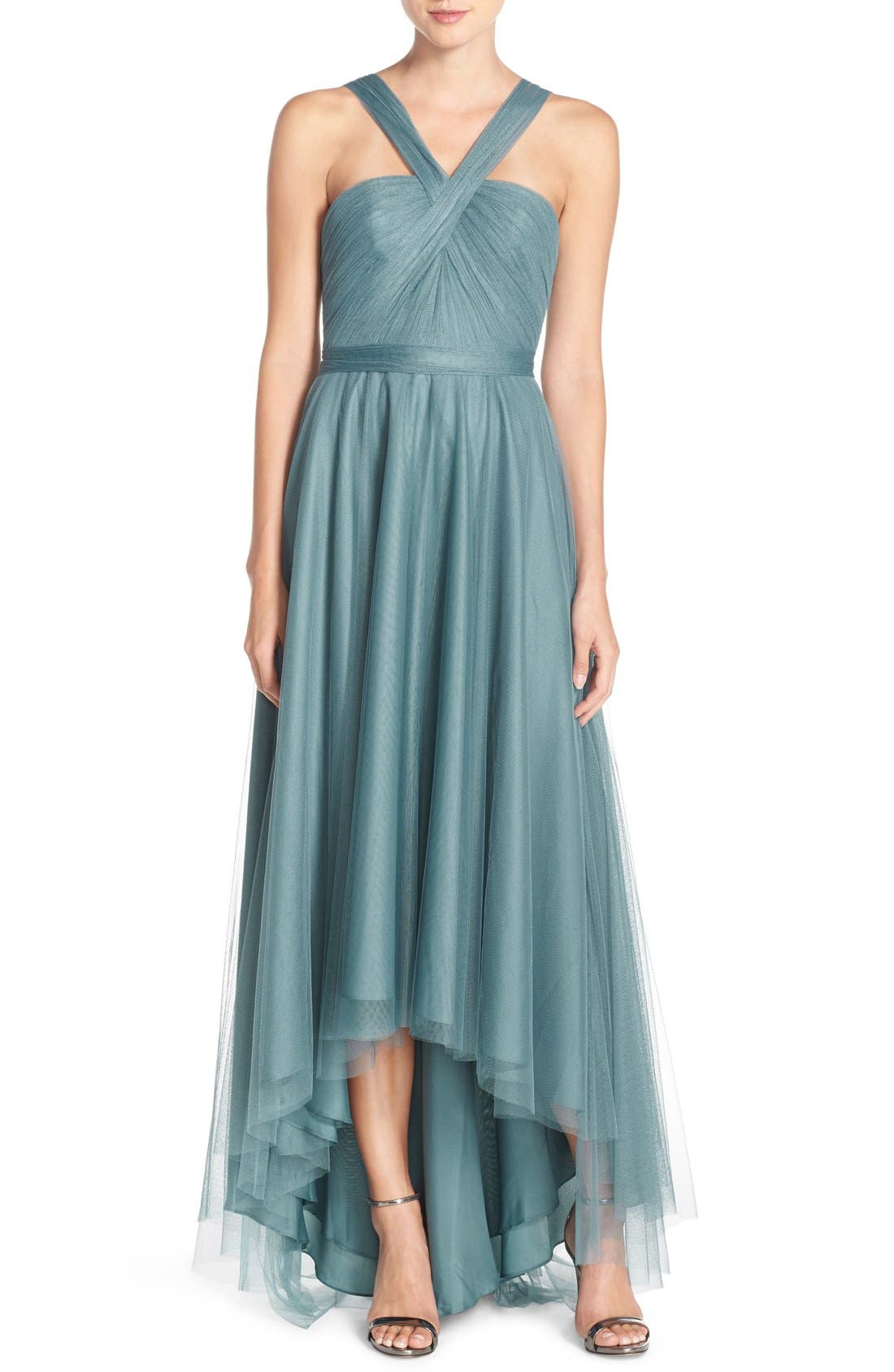 Monique Lhuillier Bridesmaids V-Neck Tulle High/Low Gown