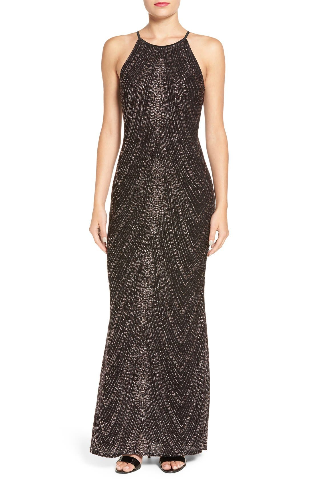 Alternate Image 1 Selected - Jump Apparel High Neck Glitter Gown