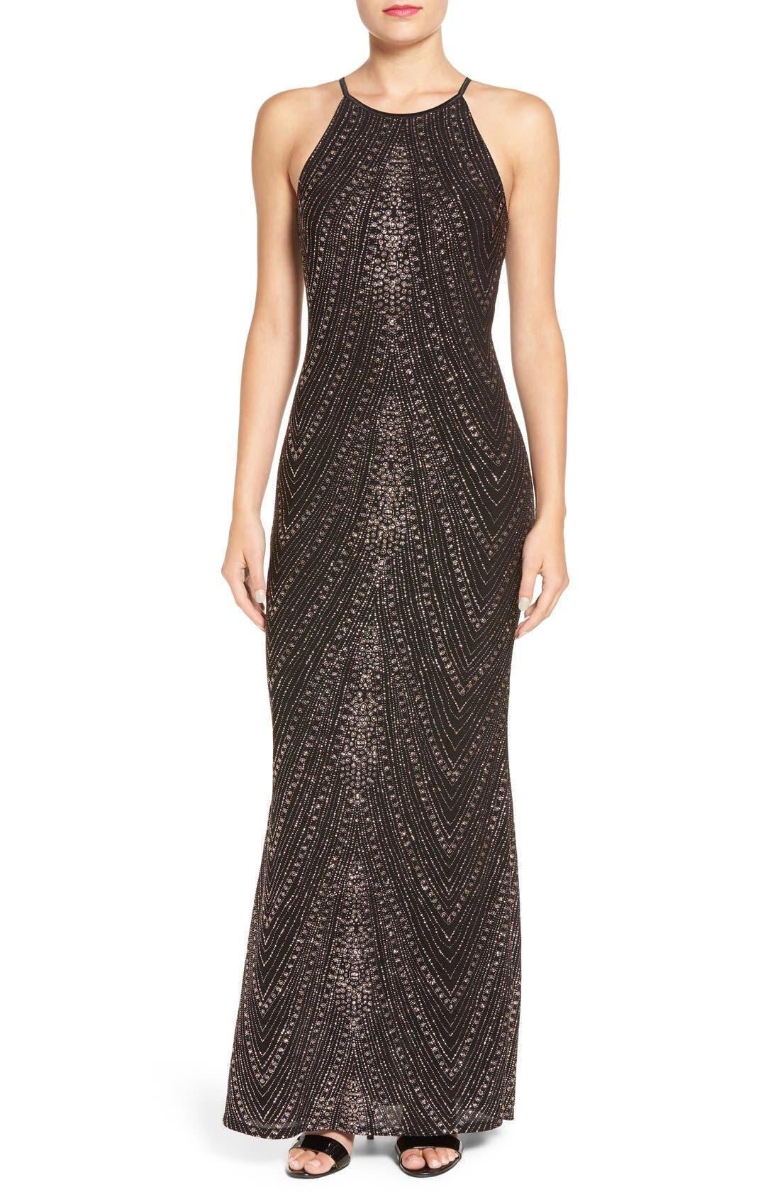 Main Image - Jump Apparel High Neck Glitter Gown