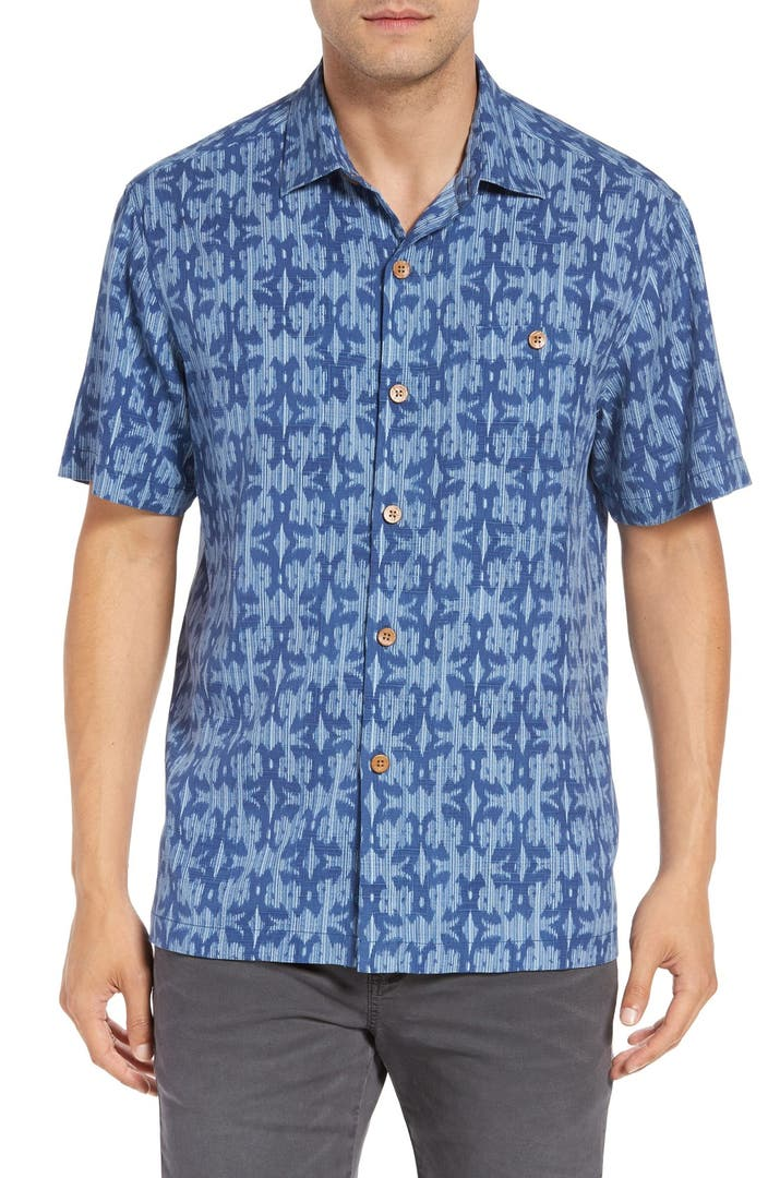 Tommy bahama 39 ikat island 39 original fit silk camp shirt for Do tommy bahama shirts run big