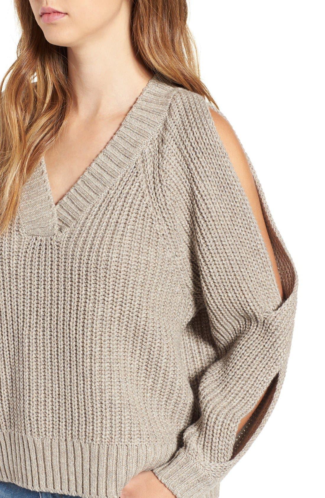 Alternate Image 4  - Leith Ribbed Cold Shoulder Sweater