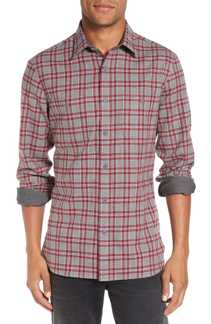 Nordstrom men 39 s shop workwear trim fit flannel shirt for Trim fit flannel shirts