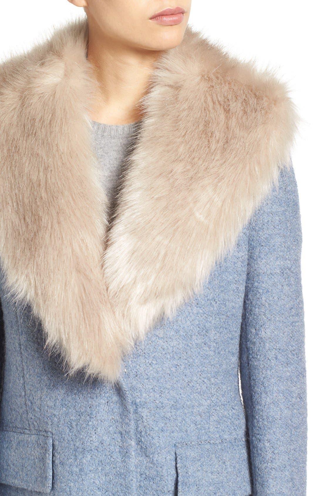 Alternate Image 4  - Belle Badgley Mischka 'Holly' Faux Fur Collar Bouclé Coat