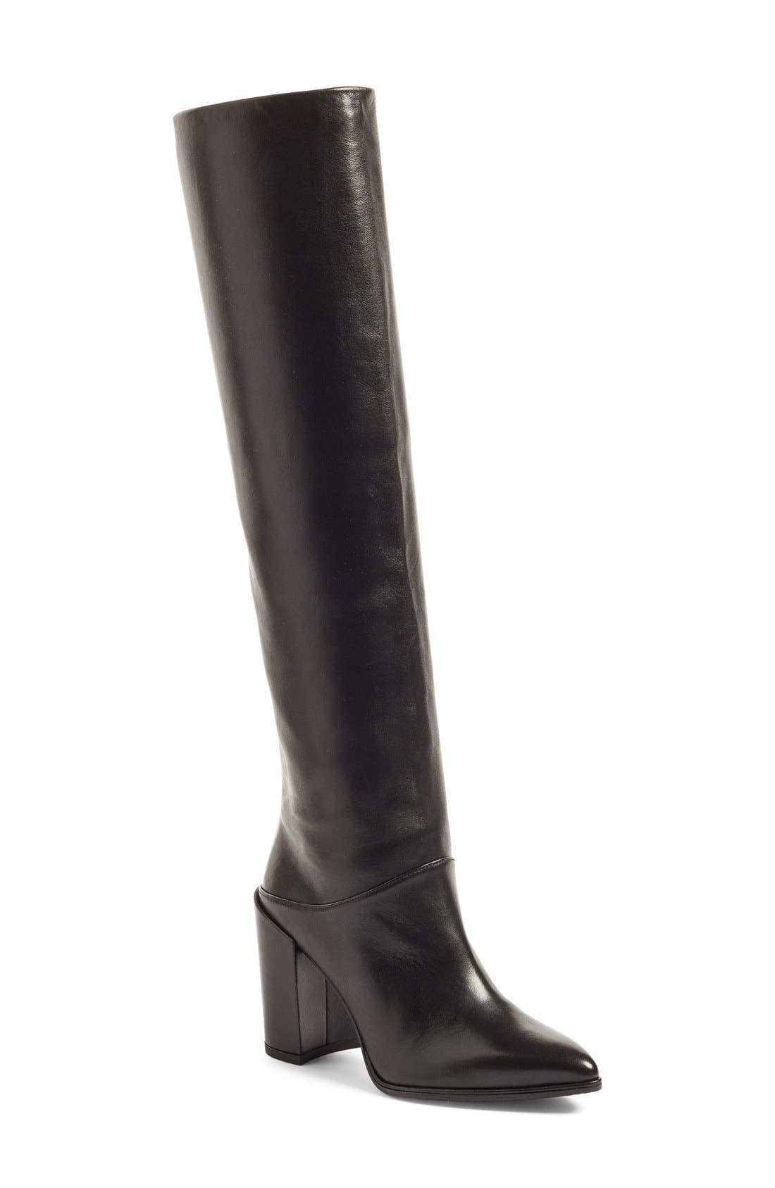 Alternate Image 1 Selected - Stuart Weitzman Scrunchy Leather Knee High Boot (Women)