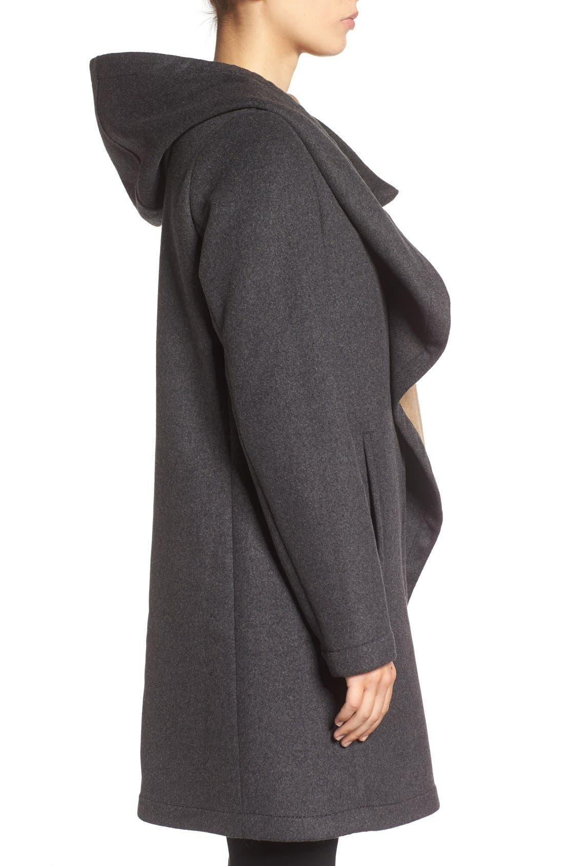 Alternate Image 3  - Vince Camuto Double Face Hooded Drape Coat
