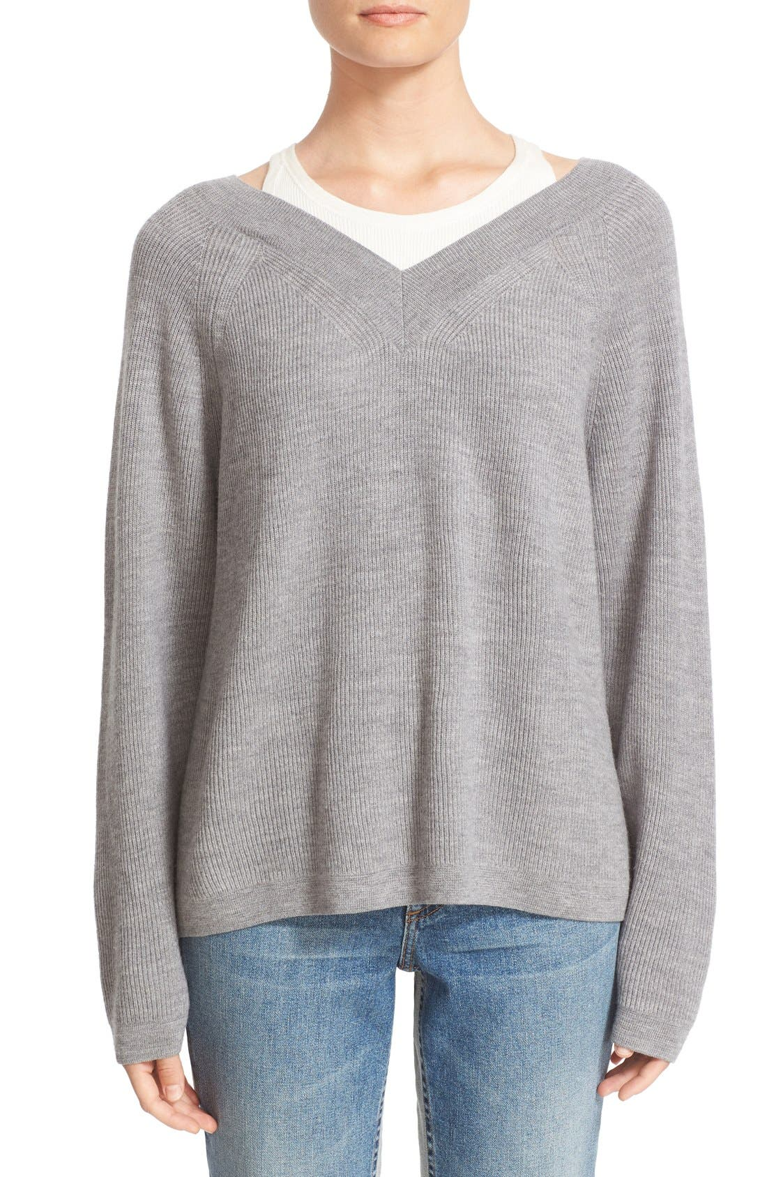 Alternate Image 1 Selected - T by Alexander Wang Layered Merino Wool Pullover