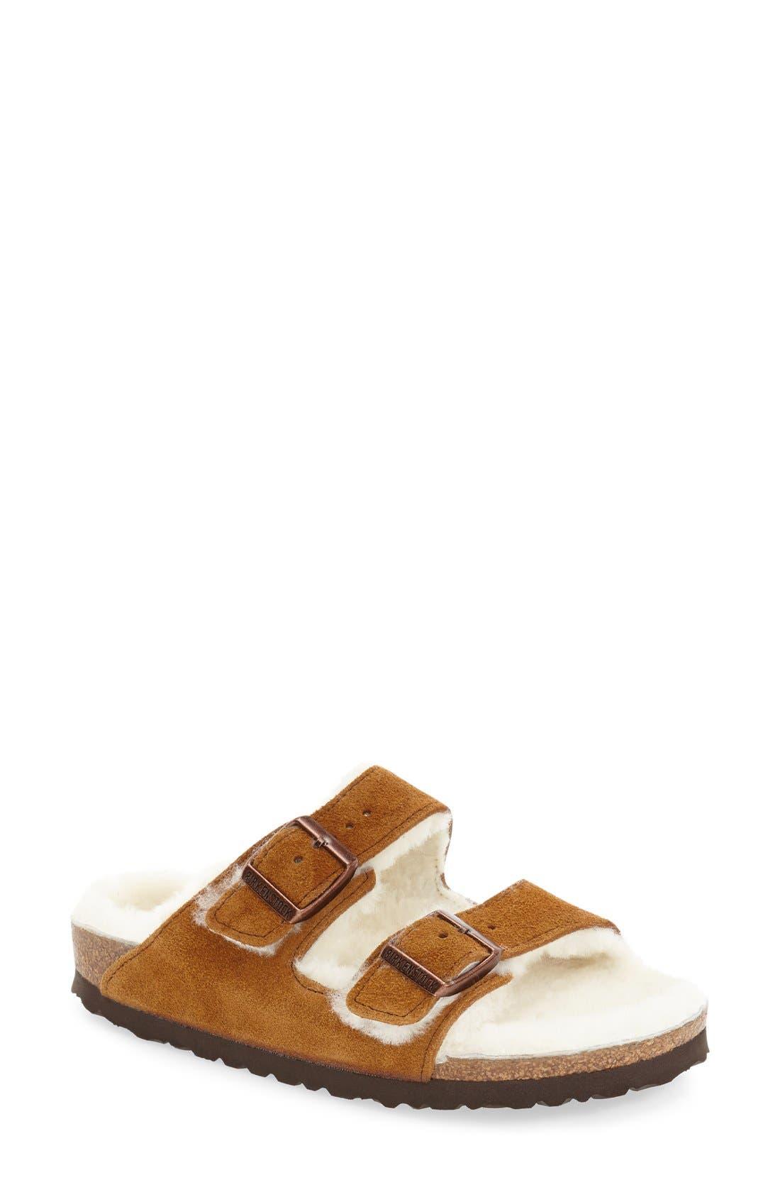 Birkenstock 'Arizona' Genuine Shearling Lined Sandal (Women)