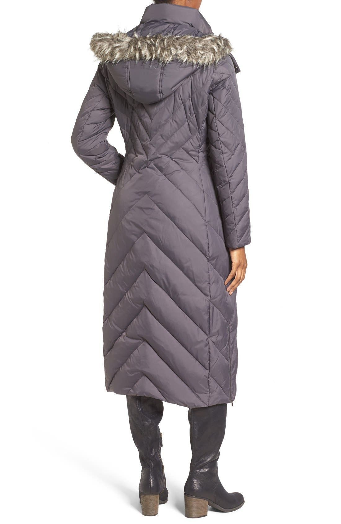 Alternate Image 2  - Larry Levine Down & Feather Fill Maxi Coat with Faux Fur Trim Hood