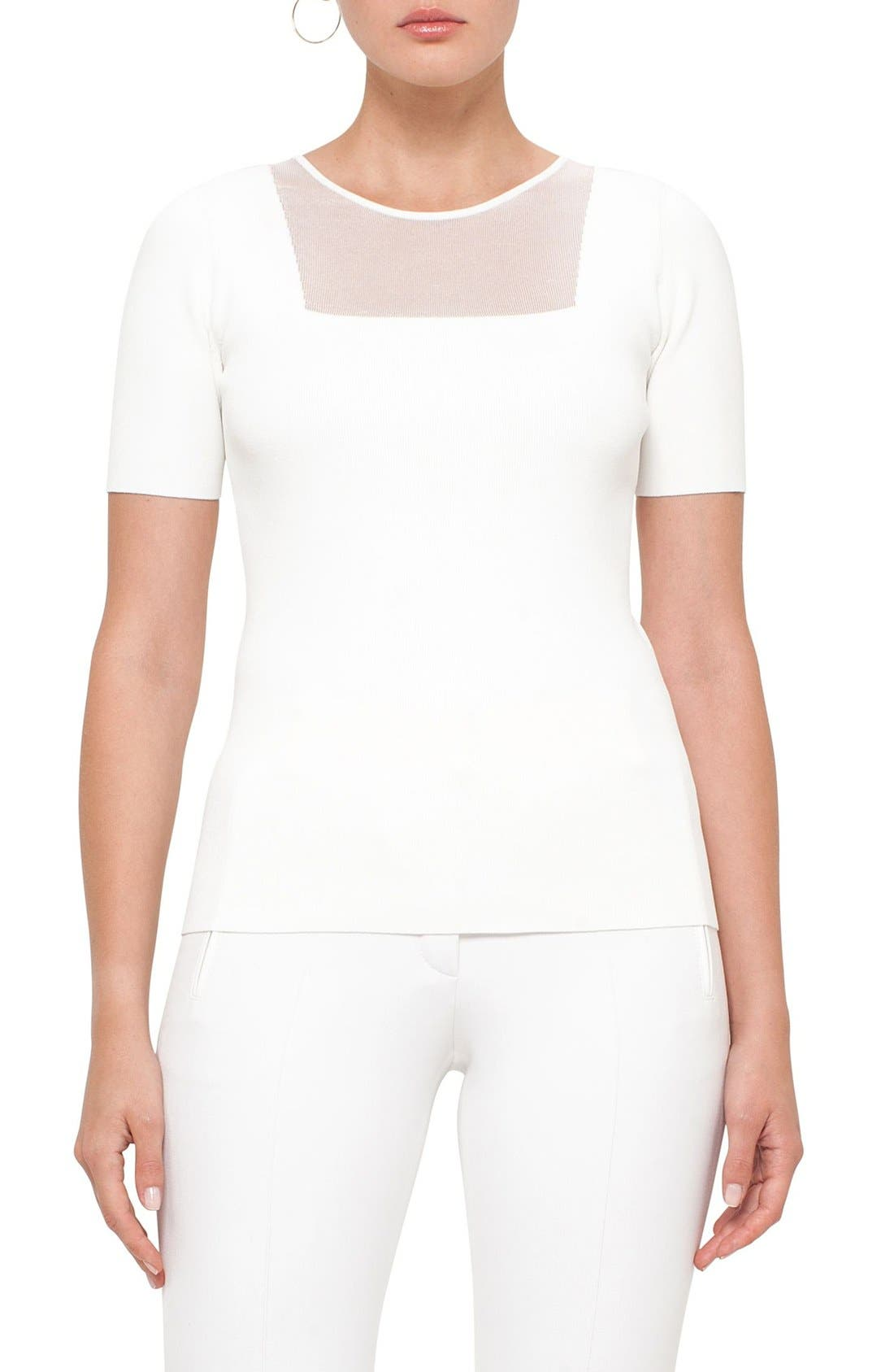 AKRIS PUNTO Sheer Panel Knit Top