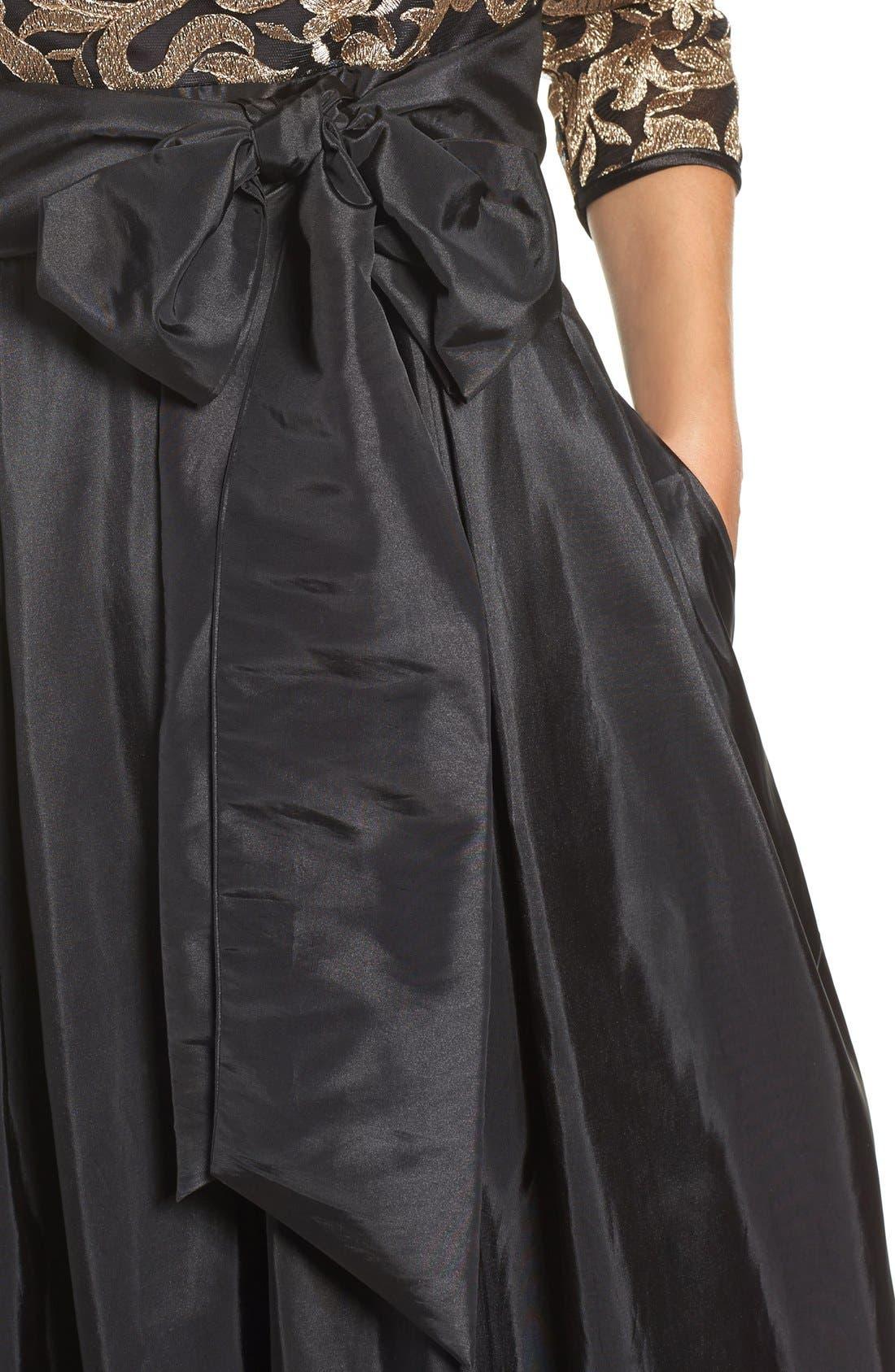 Alternate Image 4  - Eliza J Embroidered Mesh & Taffeta Gown (Regular & Petite)