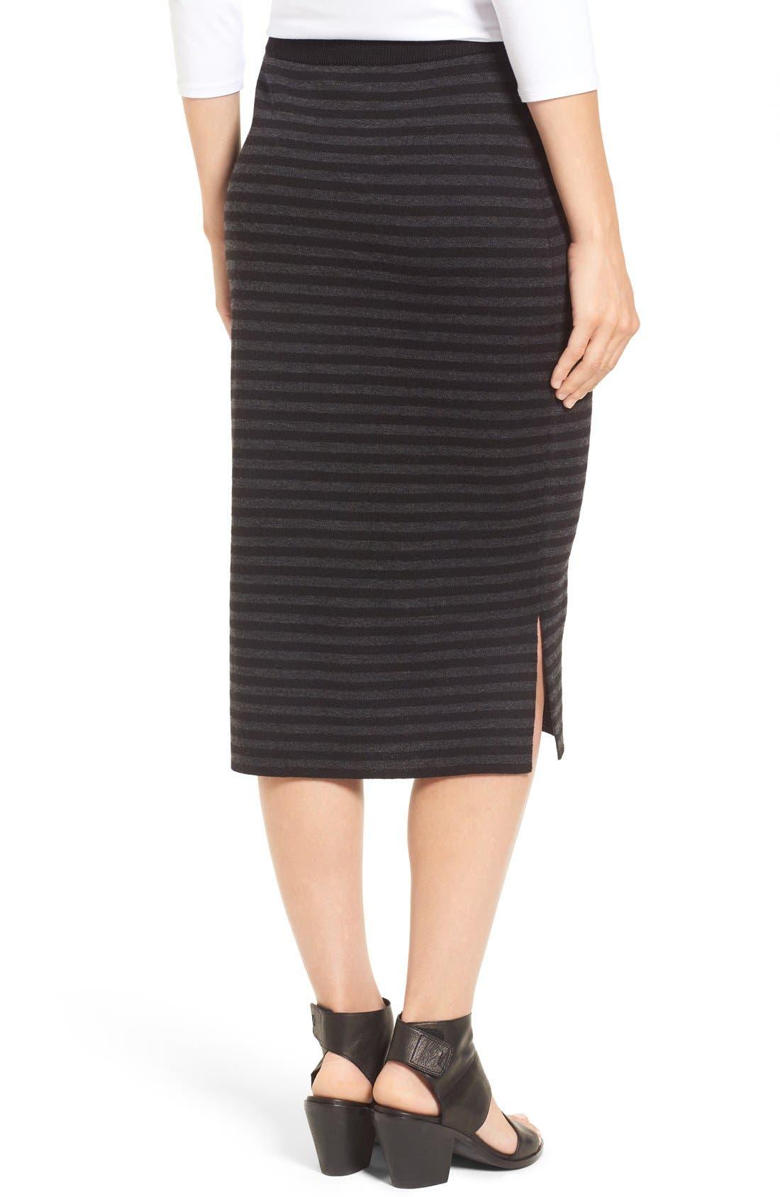 Alternate Image 2  - Eileen Fisher Merino Wool Blend Double Knit Stripe Pencil Skirt (Regular & Petite)