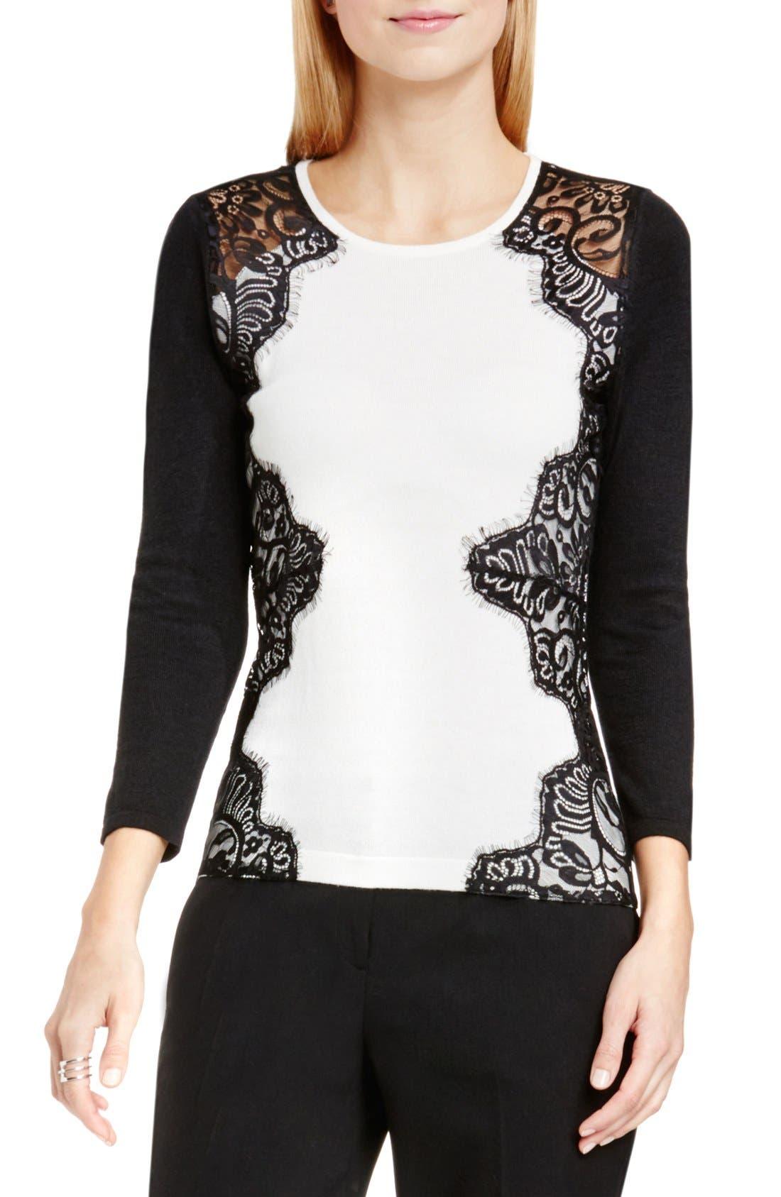 Alternate Image 1 Selected - Vince Camuto Side Lace Trim Sweater (Regular & Petite)