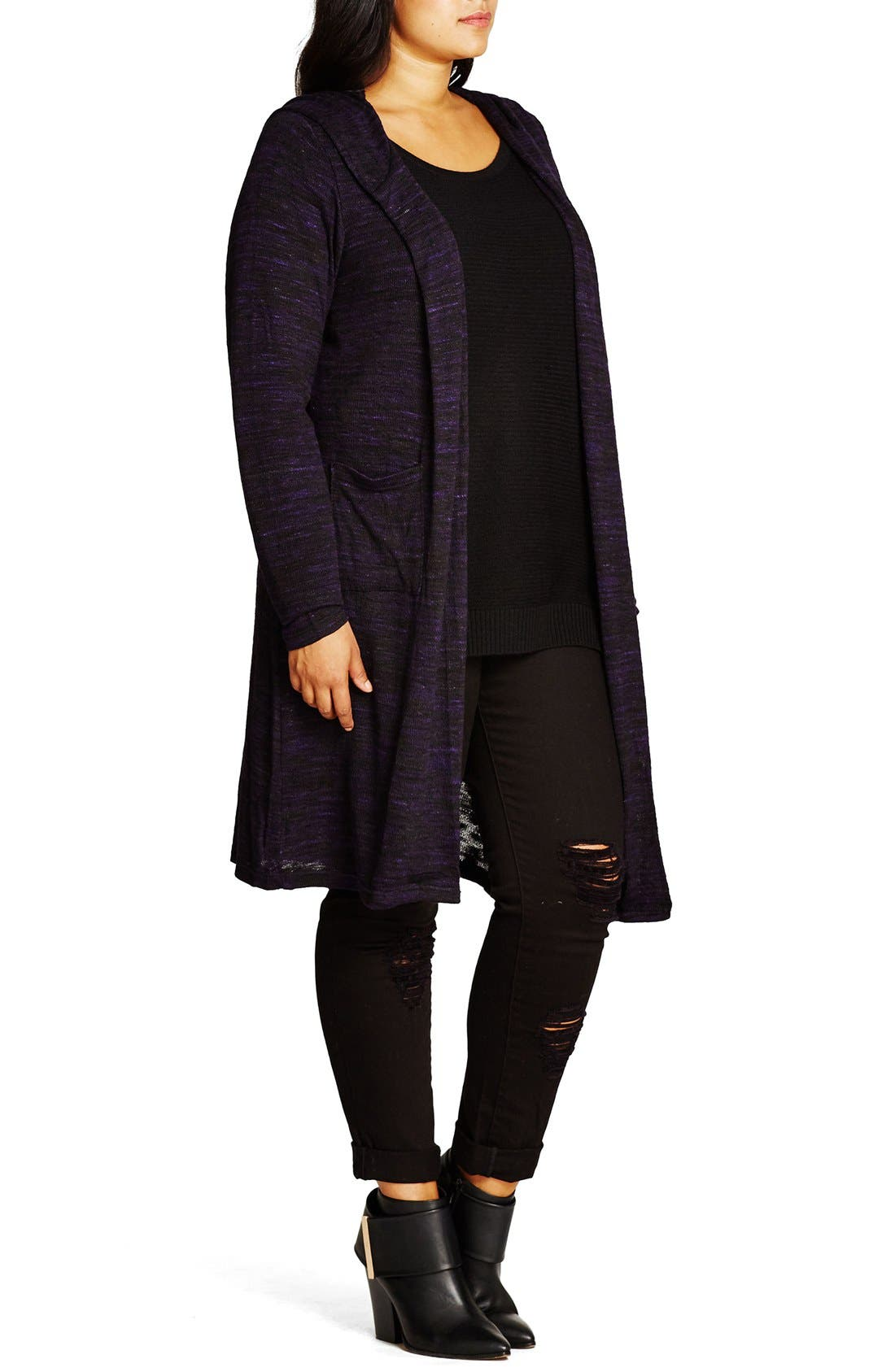 Alternate Image 3  - City Chic Space Dye Hooded Cardigan (Plus Size)
