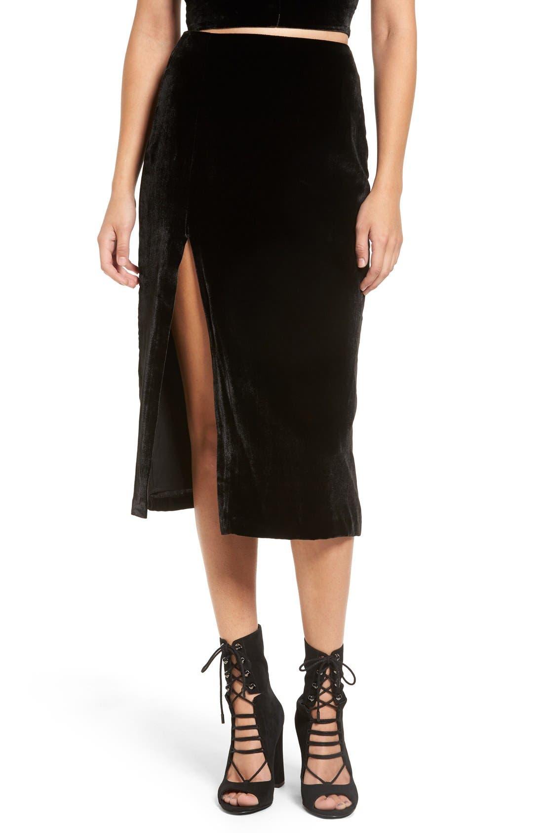 Alternate Image 1 Selected - KENDALL + KYLIE Velvet Midi Skirt