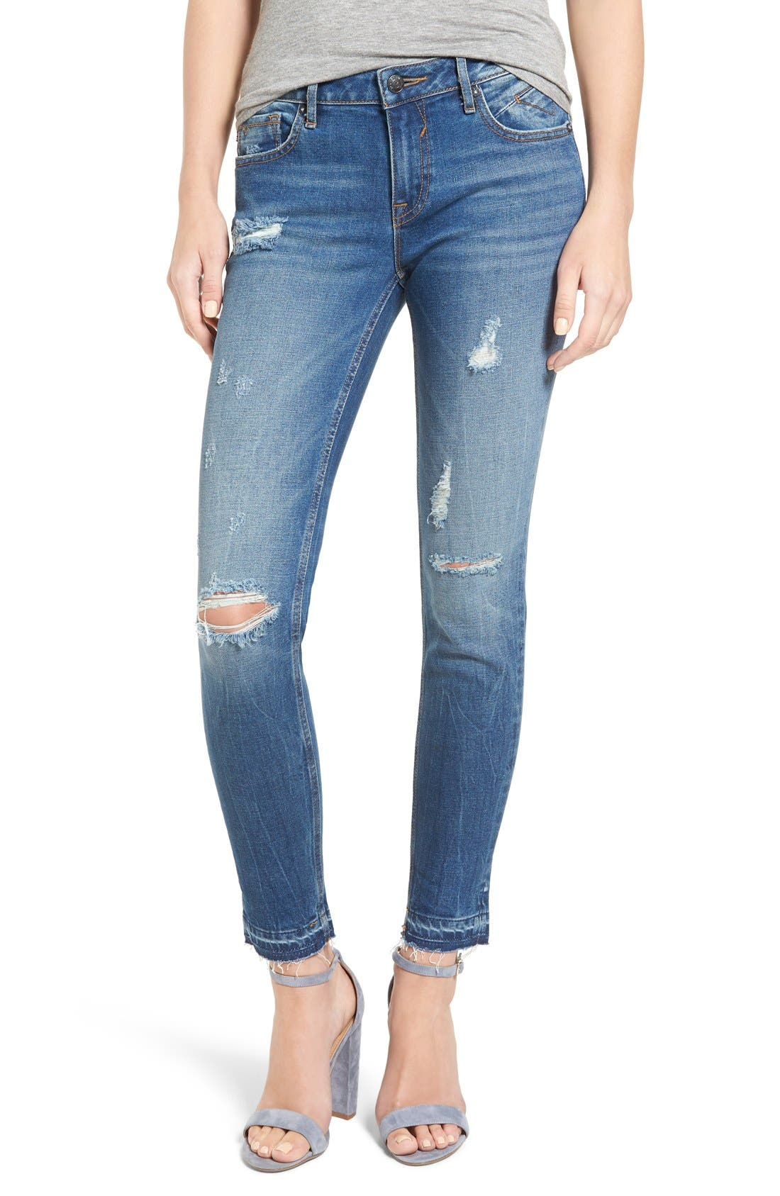 Main Image - Vigoss 'Chelsea' Distressed Raw Hem Skinny Jeans