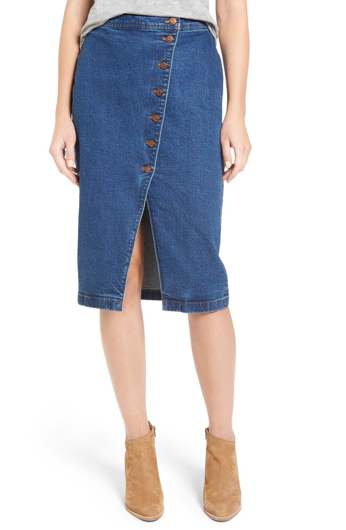 Main Image - Madewell Denim Midi Skirt