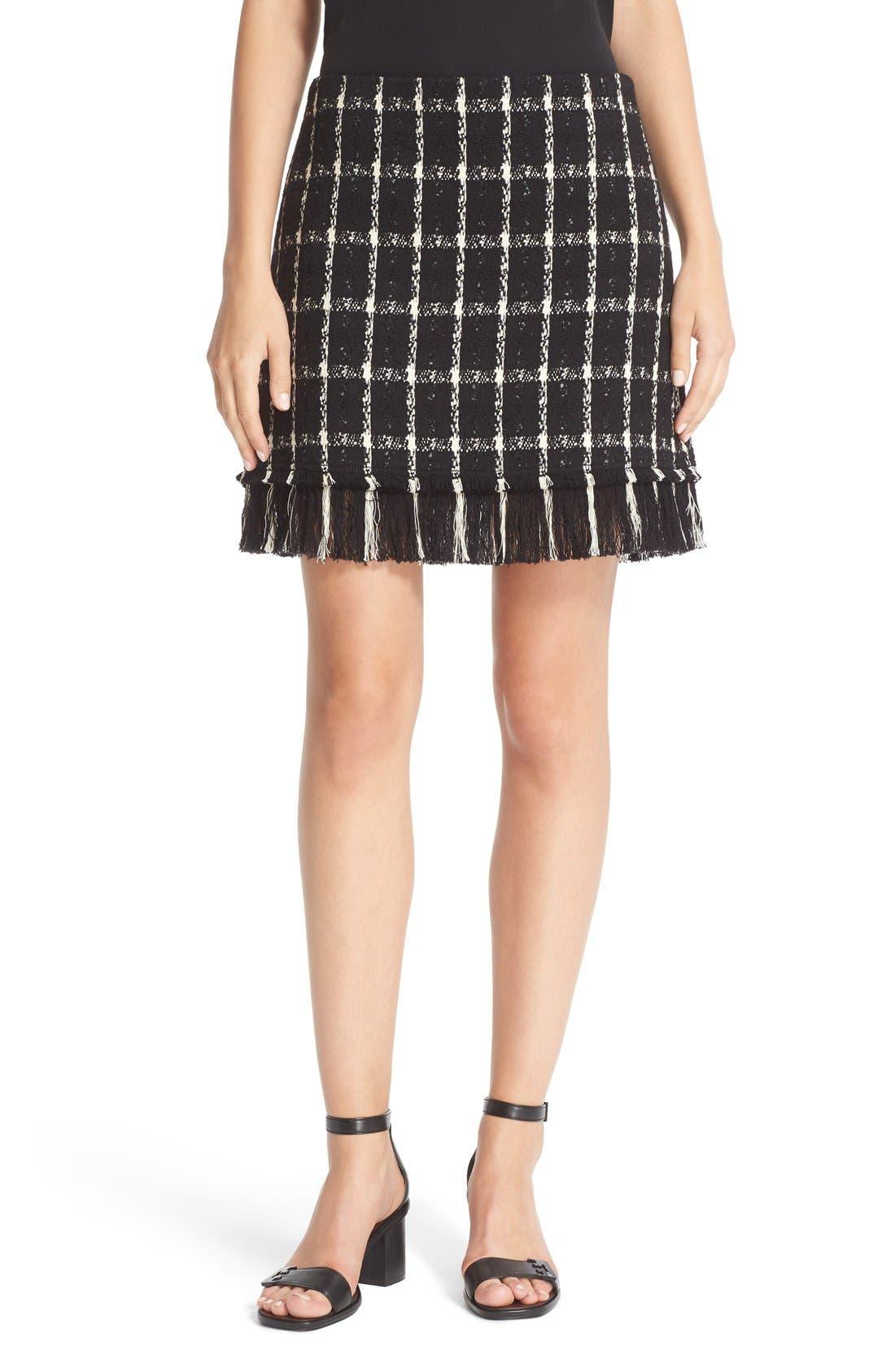 Main Image - Tory Burch 'Marisol' Fringe Hem Plaid Tweed Miniskirt
