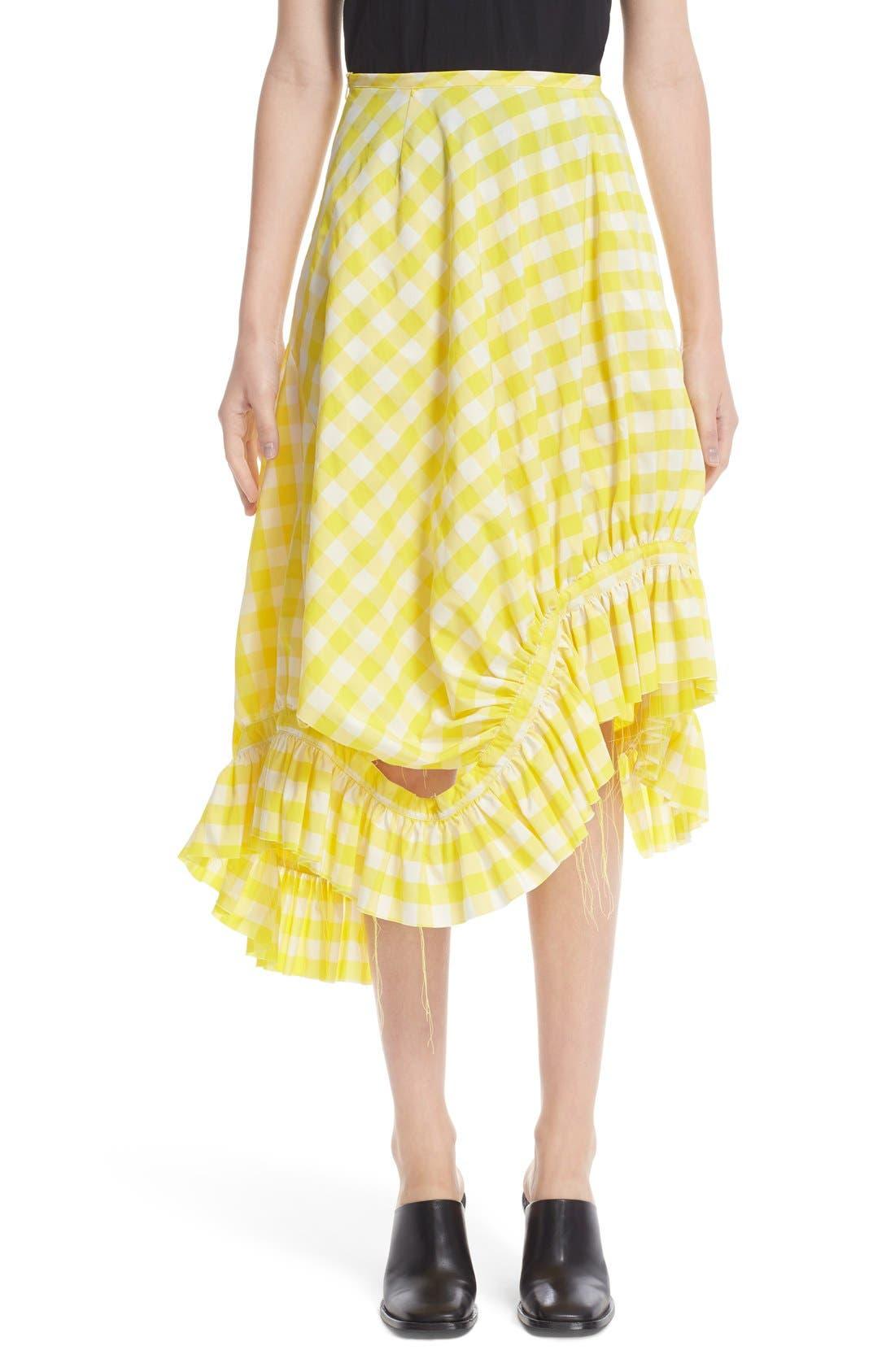 MARQUES'ALMEIDA Marques'Almeida Asymmetrical Frilled Gingham Skirt
