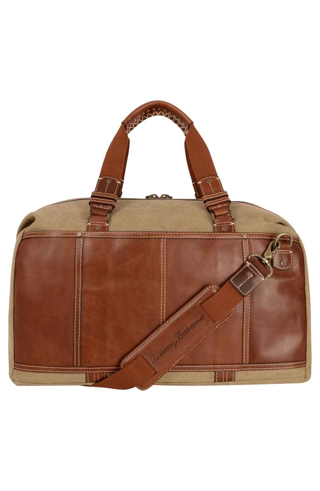 Alternate Image 2  - Tommy Bahama Canvas & Leather Duffel Bag