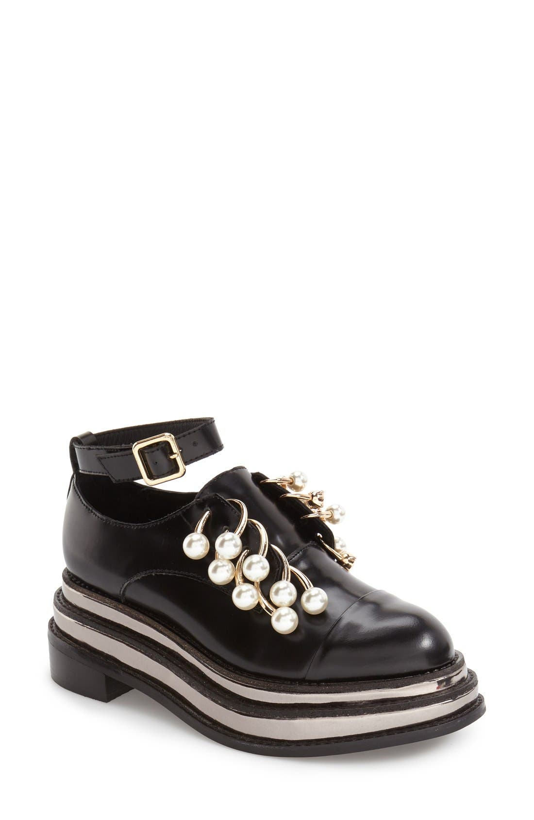 Main Image - Jeffrey Campbell 'Jagged' Crystal Embellished No-Lace Platform Oxford (Women)
