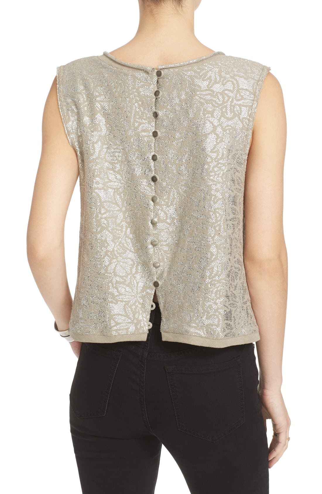 Alternate Image 3  - Free People Casual Fancy Metallic Top