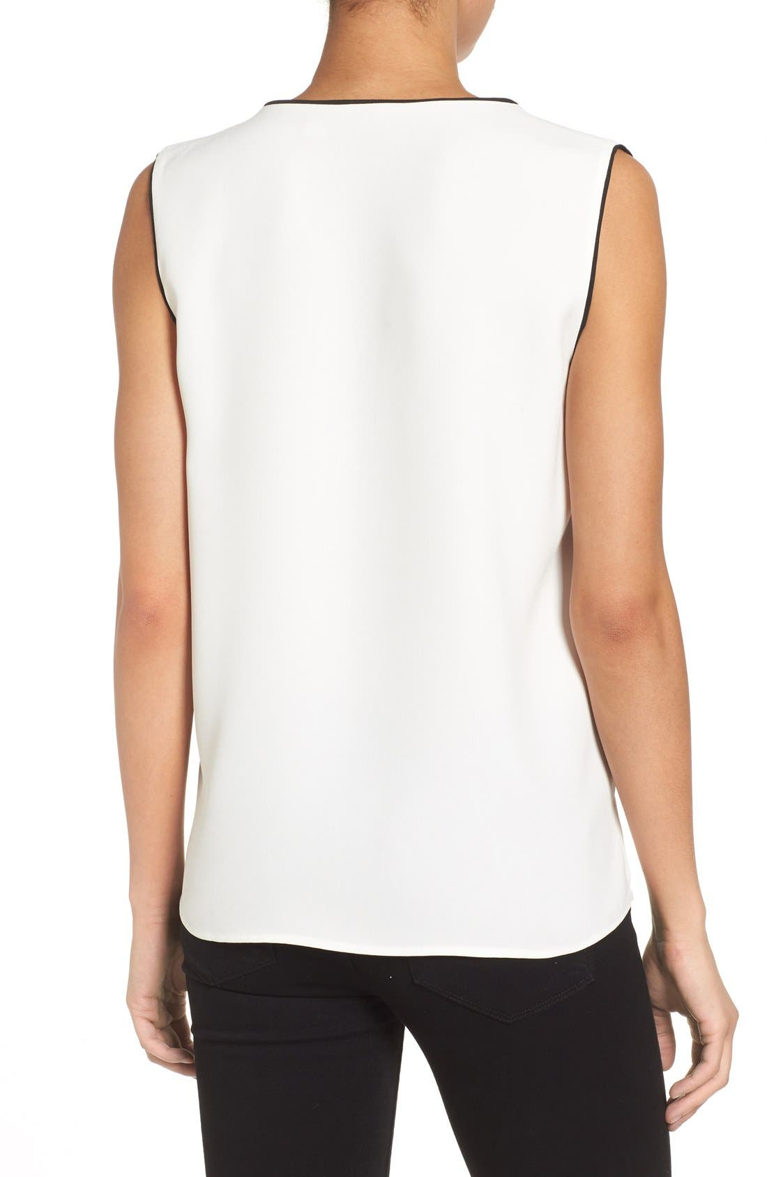 Alternate Image 2  - Halogen® Piped V-Neck Sleeveless Top (Regular & Petite)