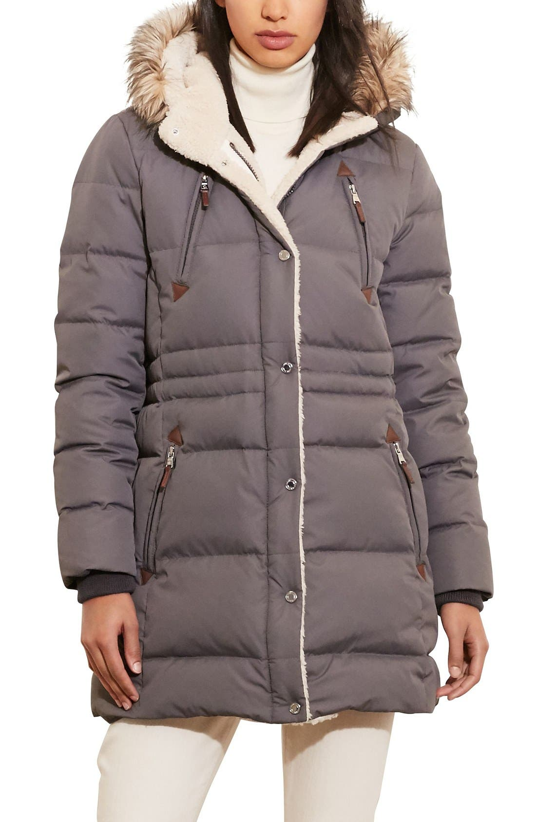 Alternate Image 1 Selected - Lauren Ralph Lauren Faux Fur Trim Down & Feather Fill Parka