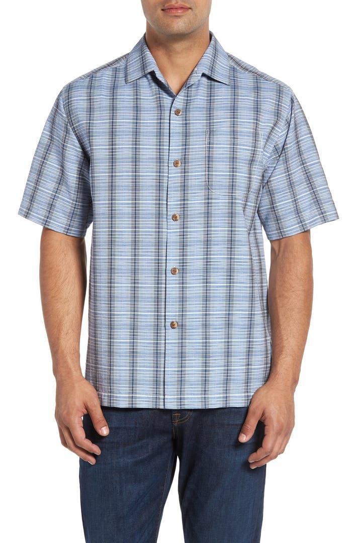 Tommy Bahama Rum Sizzle Plaid Silk Cotton Camp Shirt
