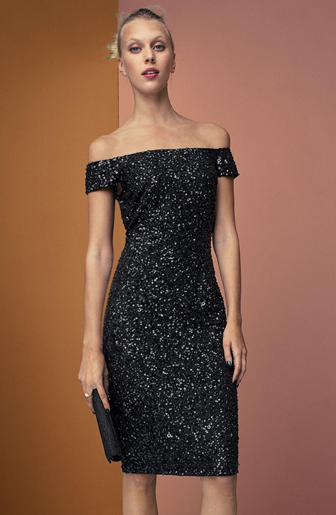 Alternate Image 7  - Adrianna Papell Off the Shoulder Sequin Sheath Dress (Regular & Petite)