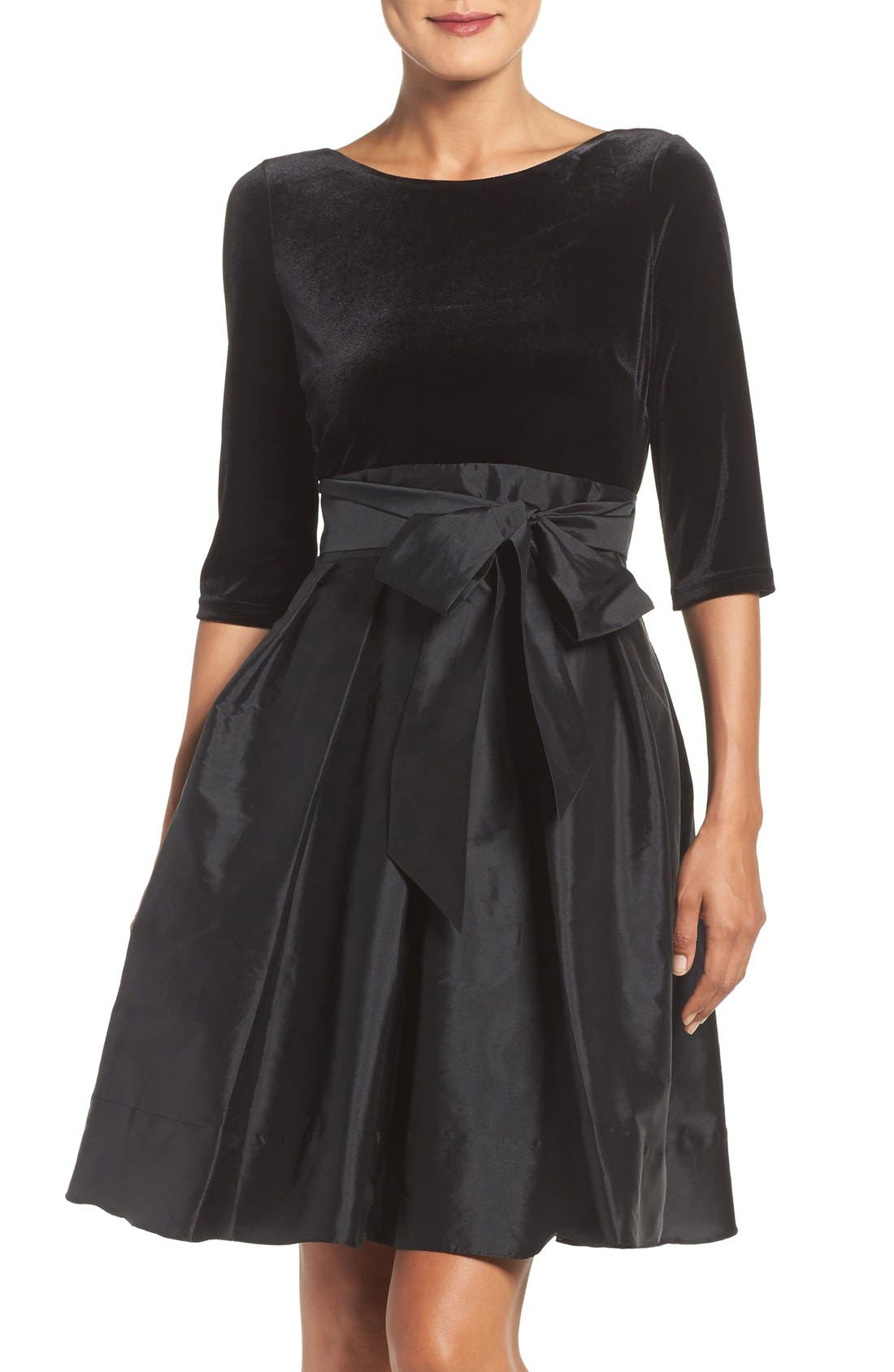 Main Image - Adrianna Papell Velvet & Taffeta Fit & Flare Dress