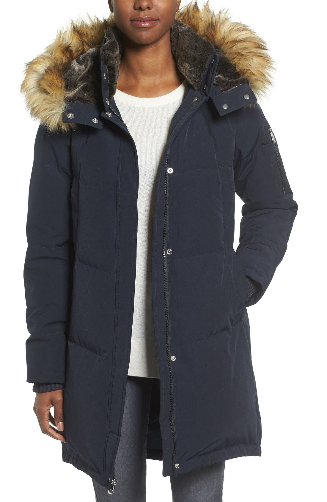 Alternate Image 1 Selected - Vince Camuto Down & Feather Fill Parka with Faux Fur Trims