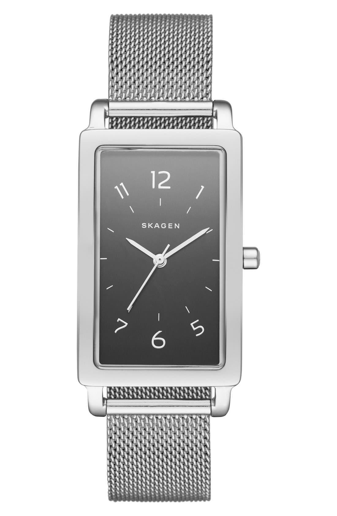 Alternate Image 1 Selected - Skagen 'Hagen' Rectangle Mesh Strap Watch, 22mm x 43mm