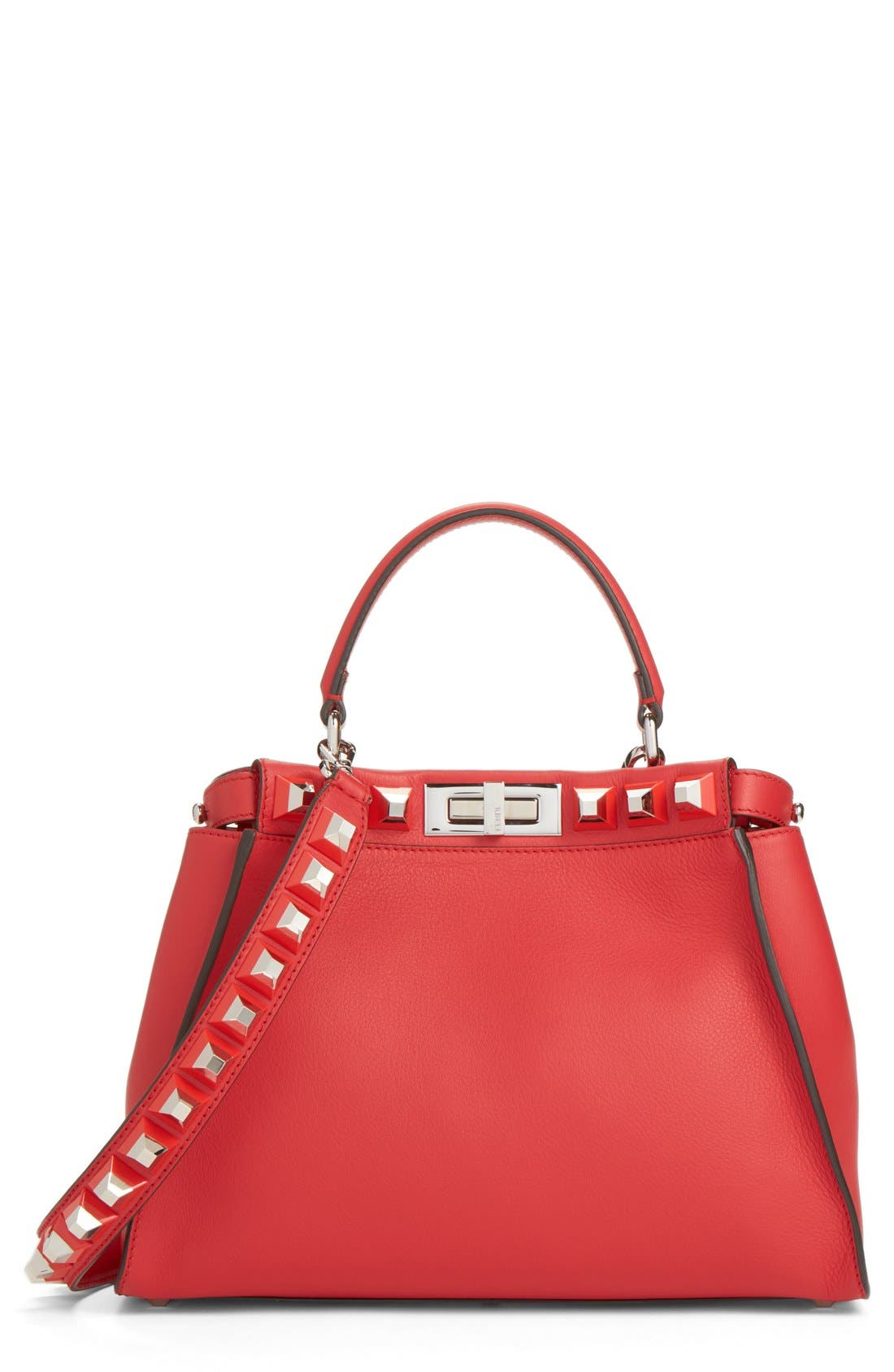 FENDI Medium Peekaboo Studded Calfskin Leather Satchel