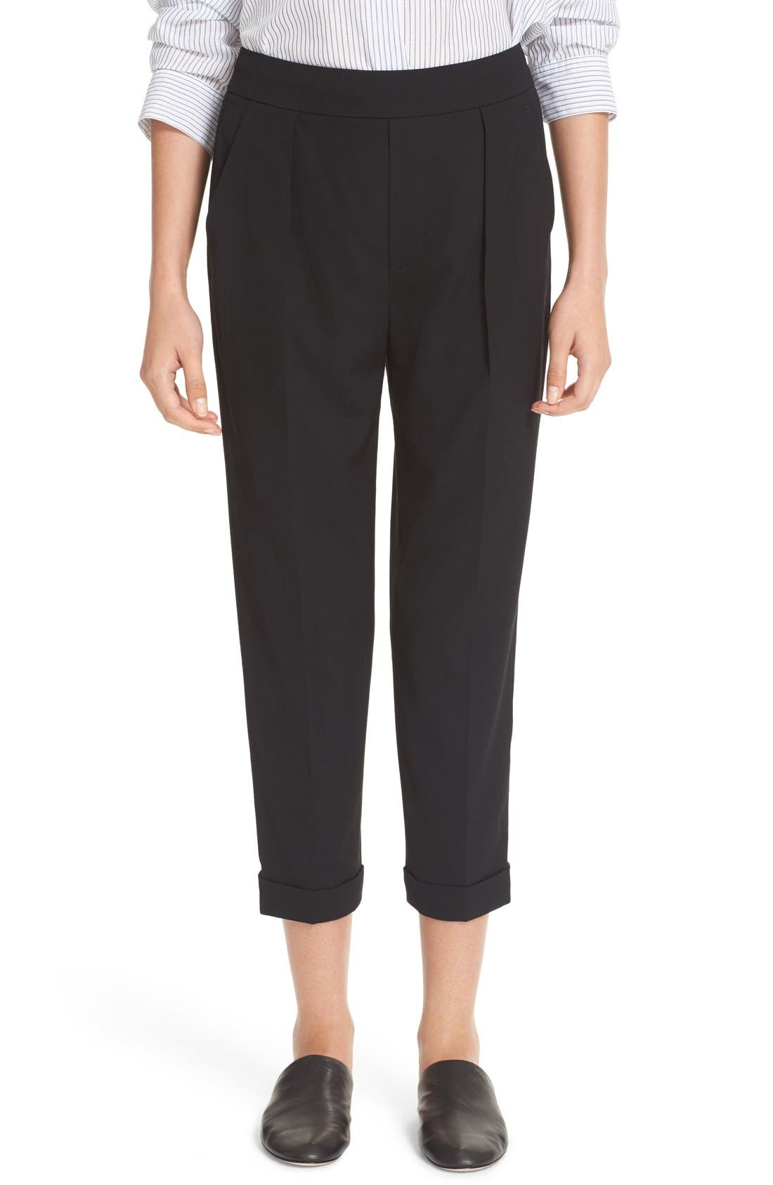 VINCE Pull-On Tapered Crop Trousers