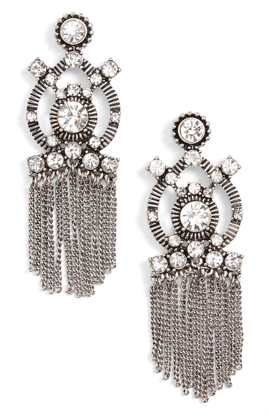Main Image - Sole Society Crystal Fringe Statement Earrings