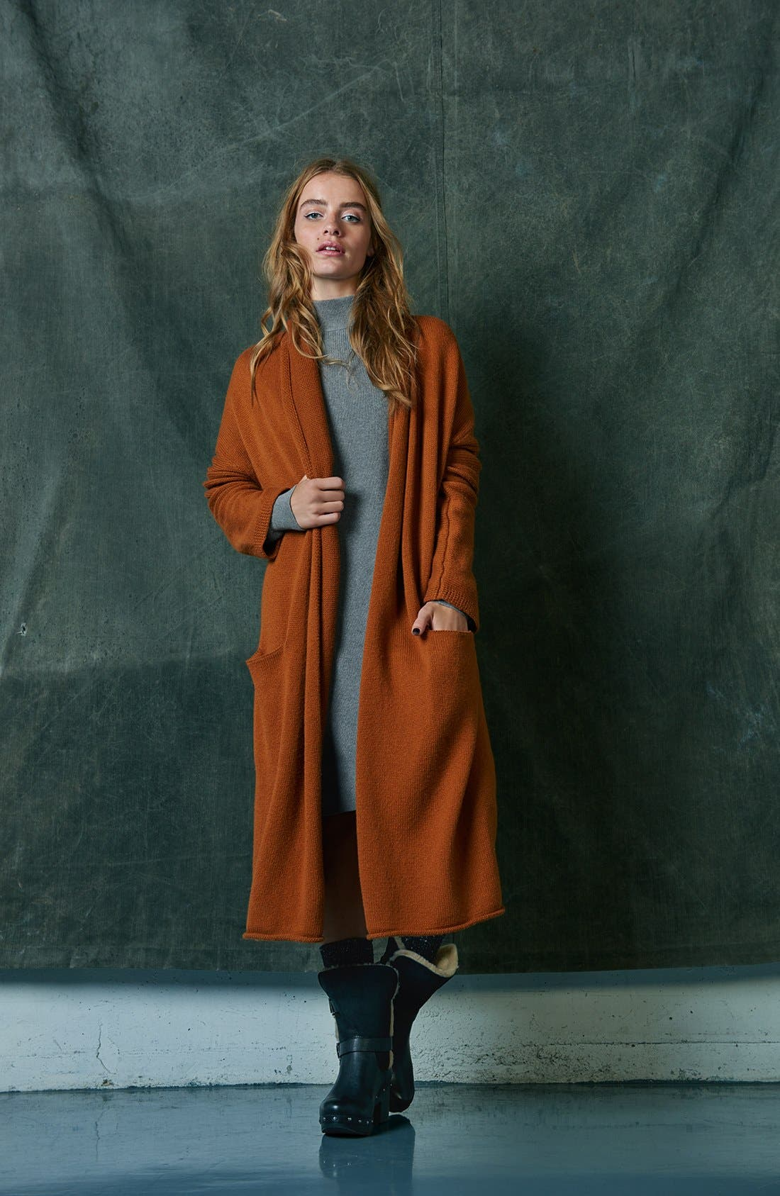 Alternate Image 7  - Leith Easy Fit Long Cotton Blend Cardigan