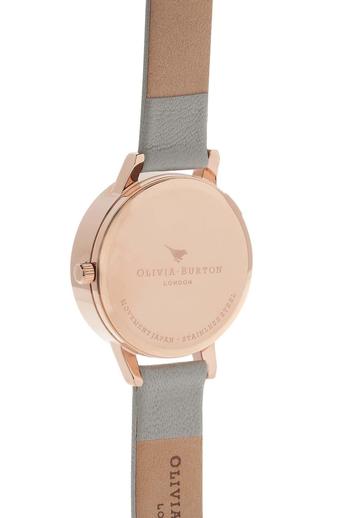 Alternate Image 2  - Olivia Burton Flower Show Leather Strap Watch, 30mm