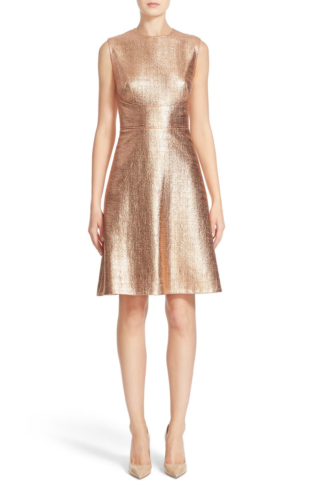LELA ROSE Coated Metallic Seamed A-Line Dress