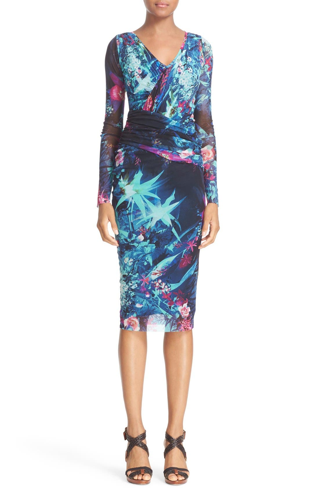 Alternate Image 1 Selected - Fuzzi Ruched Print Tulle Sheath Dress