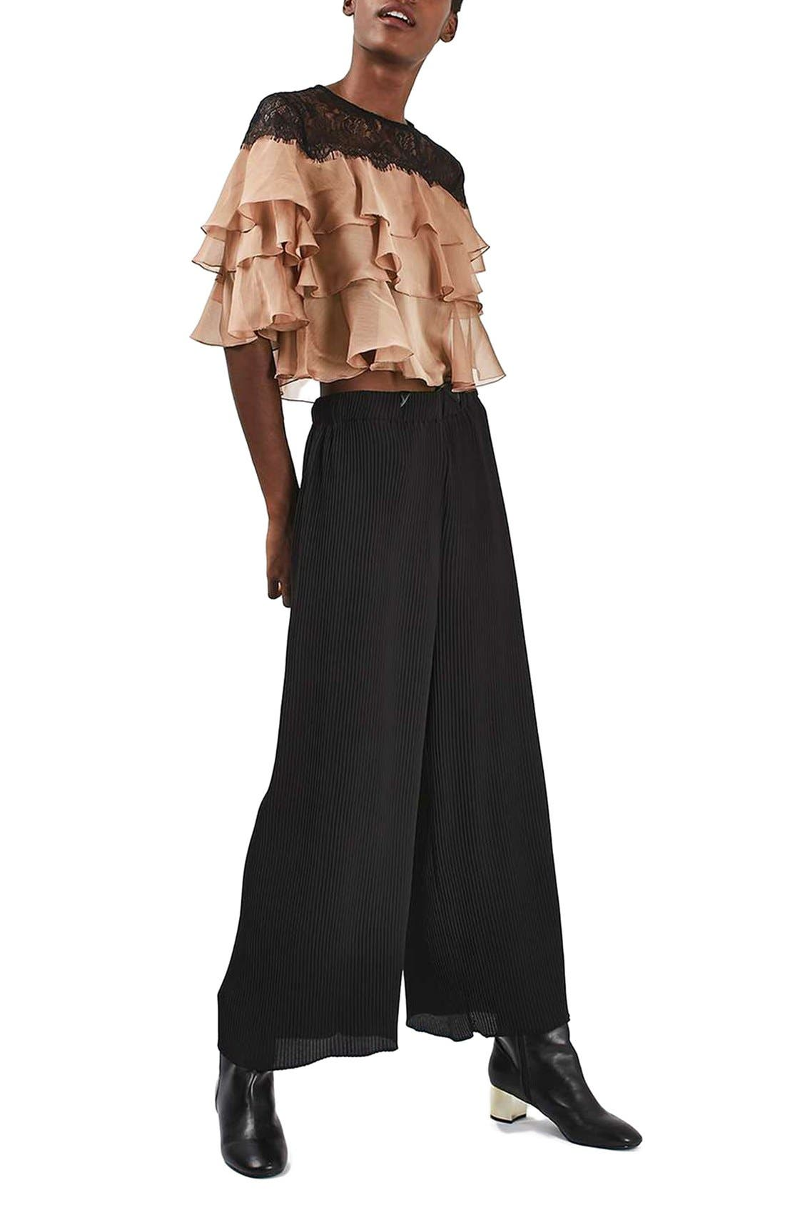Alternate Image 2  - Topshop Layer Ruffle & Lace Crop Top