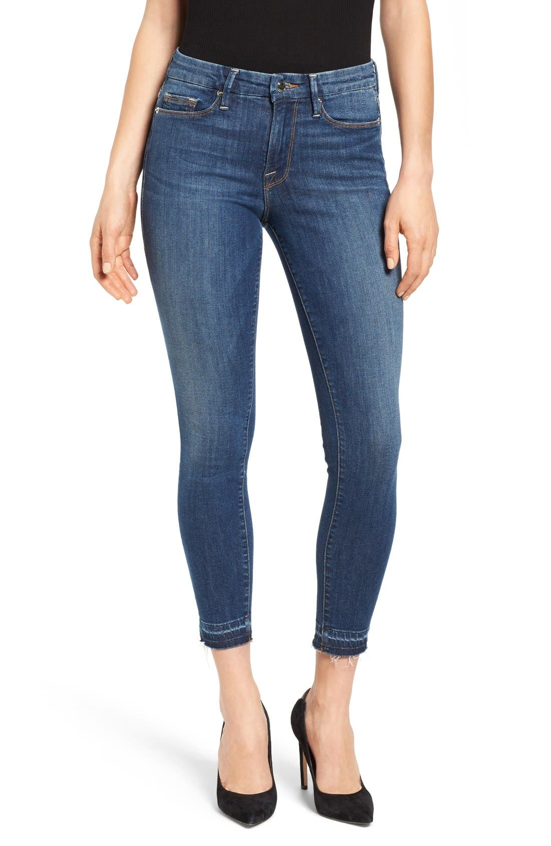 Good American Good Legs High Rise Crop Released Hem Skinny Jeans (Blue 009) (Extended Sizes)