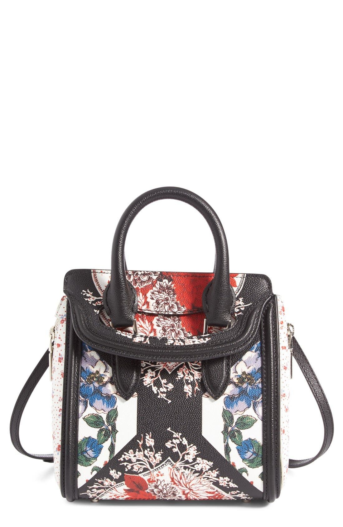 ALEXANDER MCQUEEN Mini Heroine Floral Print Calfskin Leather