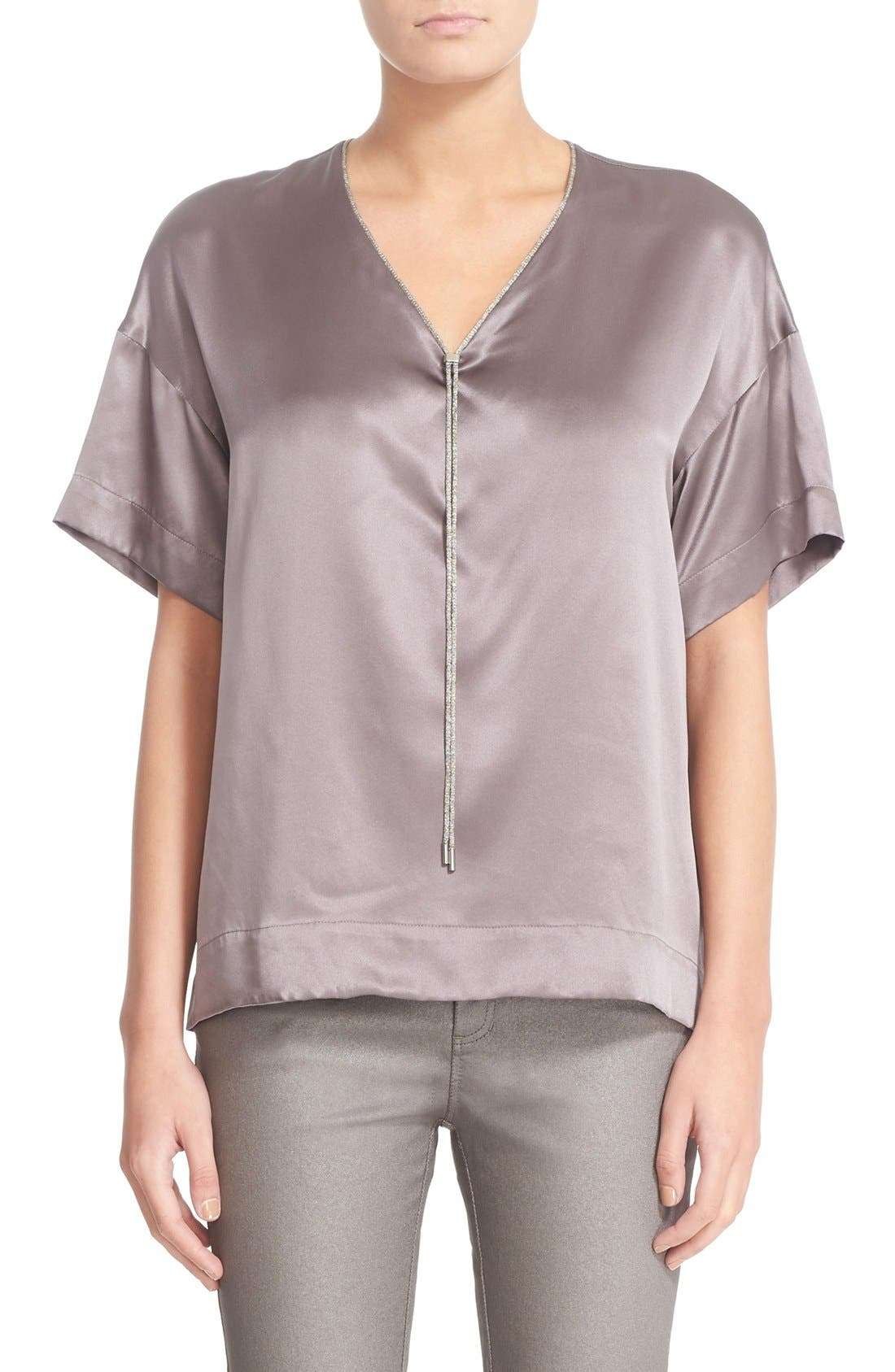 Lafayette 148 New York Caprice Chain Neck Silk Blouse